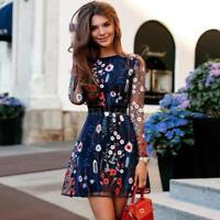 Boho Women Summer Mesh Floral Embroidery Sheer Short Dress Mini Dress U9E2