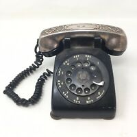 Vintage 50s Black Chrome Western Electric Bell System Rotary Dial Telephone V4A