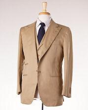 NWT $7195 KITON Tan Cotton Three-Piece Suit with Lapelled Vest 38 S (Eu 48)