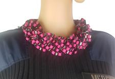 Fuchsia Pink & Black Bib Statement Chain Necklace Choker