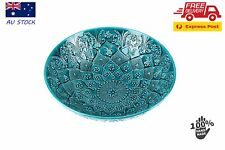 Turkish Ceramic Bowls 33 cm Handmade Hand Painted Turquoise Green Fruit Bowls