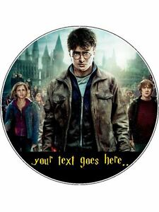 """HARRY POTTER  PERSONALISED EDIBLE ROUND CAKE TOPPER 7.5"""" Round"""