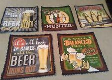 4pc beer fabric coasters quilted handmade mug glass draft craft bar