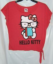 Hello Kitty Crop Tie Tee T-Shirt Red BLACK GLASSES NERD LARGE NWT
