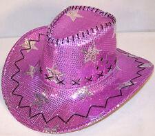 SEQUIN PURPLE STAR COWBOY HAT ladies western cap new dance hats womens sparkle