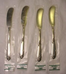 4 BUTTER KNIVES SWEETHEART ROSE never used LUNT STERLING