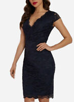 Lipsy Lace Bodycon Dress Sz 14 Cap Sleeve Navy Plunge V Neck Party Evening Sexy