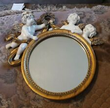 Vintage / French Style Small Round Mirror with Cherubs Some Damage