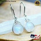 Women Jewelry Pretty Moonstone Drop Earrings 925 Silver Earring Gifts A Pair/set