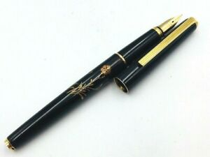 Y5418  RARE PILOT Hira Makie Flower Fountain Pen Black 18K Gold 750    F