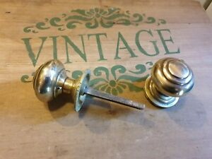 One pair of old/vintage brass door handles round HILLS LONDON
