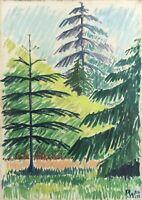 PW 1950 SONNIGER TAG IM MAI FICHTEN TANNEN MODERN SCANDINAVIAN MIDCENTURY ART