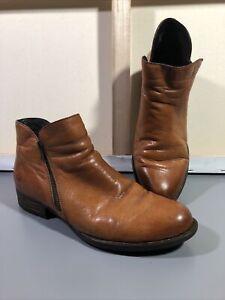 Mens 11.5 / 12 Born Cognac Brown Leather Zip Ankle Shoe Boots F29216 CQF17