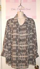LAURA SCOTT ~ B/W/Charcoal Chiffon Flowy Blouse/Shirt Sz 20-22W * EXCELLENT COND