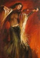 CHOP1380 100%  hand painted Dewy girl Playing violin oil painting art on canvas