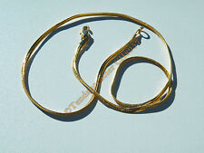 Chaine Collier Serpentine 55 cm Pur Acier Inox Doré Plaqué Or Maille Serpent 3mm