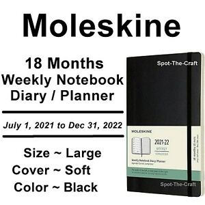 Moleskine 18 Months 2021 to 2022 Weekly Notebook Diary Planner Large Soft