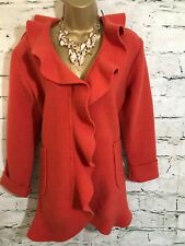 Eva Tralala Ladies Orange Boiled Wool Lagenlook Ruffle Jacket   UK 14/16