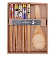(New) 5 pairs Japanese Natural Wooden Bamboo Chopsticks and Soup Spoon Gift