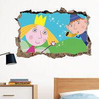 Ben and Holly in Wall Crack Decal Sticker Wall Art Kids Gift Bedroom New Xmas