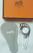 Hermes  Silver  horse charm bookmark loupe mini magnifying glass  BOX &POUCH