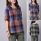ZANZEA Women's Long Sleeve Vintage Plaid Check Casual Buttons Blouse Shirt Tops