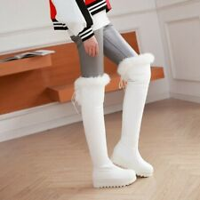Women's Winter Shoes Creeper Low Heel Pull On Fur Trim Over The Knee Snow Boots