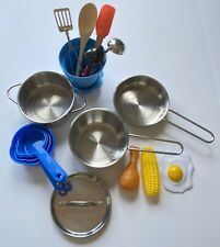 Pretend Kitchen Play Accessories Toys W Stainless Steel Cookware Pots & Pans Set
