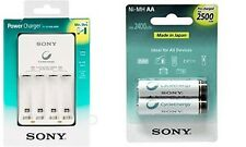 SONY AA Rechargeable 2500mAh 2 Battery & SONY BCG-34HHN AA/AAA Battery Charger