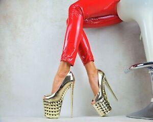 METALLIC Damenschuhe Club-Party Pumps Plateau XXXL GOGO High Heels GOLD 36/41