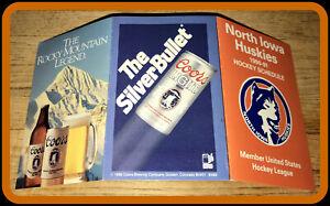 1990-91 NORTH IOWA HUSKIES COORS BEER HOCKEY POCKET SCHEDULE FREE SHIPPING