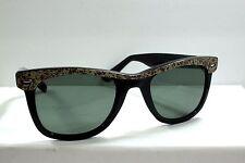 Vintage 1970's Regency Sunglasses Black Plastic Wayfarer Style Camo Camoflage