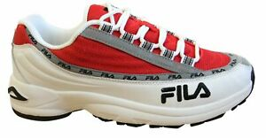 Fila DSTR97 Mens Trainers White Red Leather Textile Lace Up Shoes 1010570 02A
