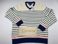Tommy Hilfiger Men's Cotton Knit V-Neck Pullover Sweater Cream Striped Size 2XL