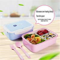 Lunch Container Bento Box Leakproof 3 Compartments FDA Approved BPA-Free Kids