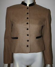 Camel Hair Wool Brown Velvet LS Riding Blazer Jacket 10 Button Front Stand Colla