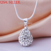 925 Sterling Silver Tarnish-Free Drop-Shape Crystal Ball Pendant+ Necklace Chain