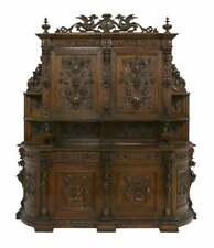 Antique Carved Sideboard / Cabinet, Impressive Continental Carved Walnut, 1800's