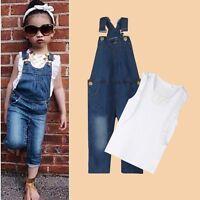 Kids Baby Girls Outfits Clothing T-shirt Tops+Denim Bib Pants Overalls 2PCS Sets