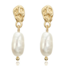 Europe Fashion Simple Baroque Natural Fresh Water Pearl Stud Girl TwoPin Real