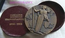 MED4831 - MEDAILLE Cie GENERALE TRANSTALANTIQUE 1855-1955 par MARCEL RENARD