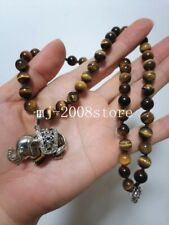 Charming 8MM Tiger's Eye Round Beads + Elephant Pendant Necklace 18""