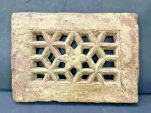 OLD ANTIQUE RARE HAND CARVED UNIQUE DESIGN HEAVY STONE WINDOW PANEL / JALI