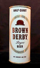 BROWN DERBY LAGER BEER - LATE 1960'S - 16OZ HALF QUART PULL TAB CAN LOS ANGELES