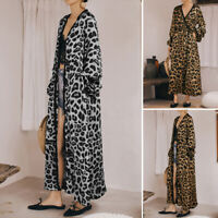 UK Womens Full Length Maxi Cardigan Duster Leopard Print Long Sleeve Trench Coat
