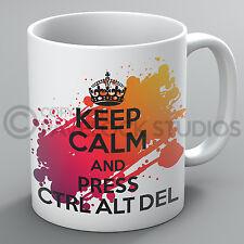 Keep Calm And Press Ctrl Alt Delete Mug IT Computer Geek Nerd Del Present Gift