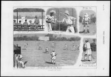 1878-antigua de impresión de la India puntuación fatsee Pitch Wicket bate de cricket Tazón de fuente (067)