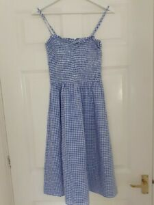 H and M, size small. blue and white check summer dress with detachable straps