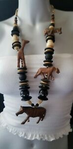 Vtg HM Artisan Statement Necklace Wood Carved Animals Fetish Lion Giraffe MOP