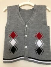 Boys Winter Knit Gray Vest Sweater